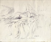 Janet Sleeping, ballpoint drawing done in the dark by Warren Criswell