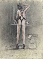 Ginny in the dressing room at the Prime Time,  ballpoint  and pastel drawing by Warren Criswell
