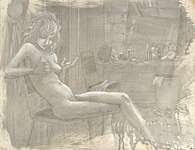 Brandy (in the dressing room at the Prime Time, silverpoint drawing by Warren Criswell