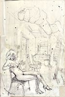 Study for Brandy Doing Glitter, ballpoint drawing by Warren Criswell