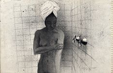 Annette in the Shower, ballpoint drawing by Warren Criswell
