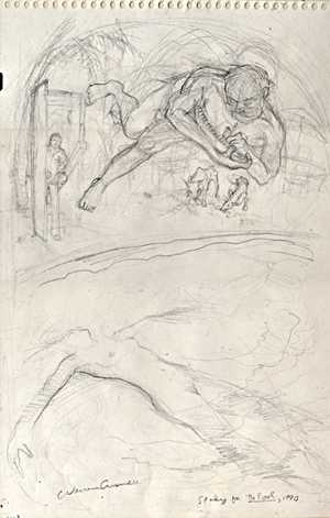 Study for The Pool, pencil drawing by Warren Criswell