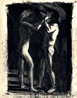 1st Study for Struggle, charcoal and wash drawing by Warren Criswell