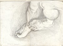 "Feet--study for ""Highway 61"", silveroint drawing by Warren Criswell"