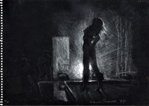 Dancer at the Prime Time, white charcoal drawing by Warren Criswell